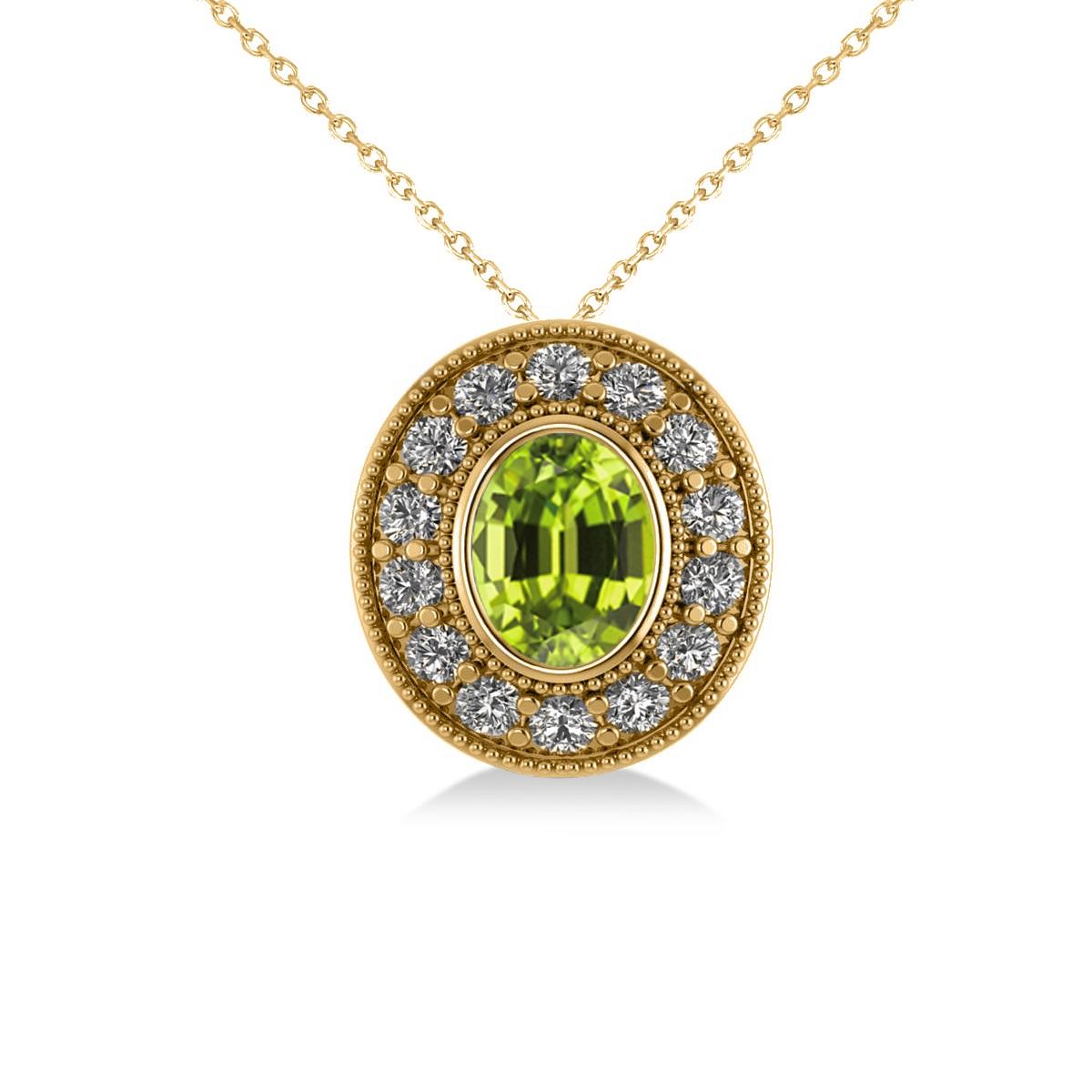 Peridot & Diamond Halo Oval Pendant Necklace 14k Yellow Gold (1.37ct)