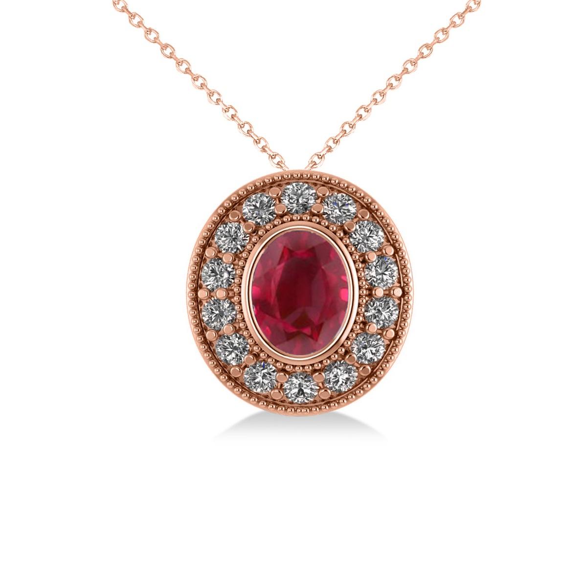 Ruby & Diamond Halo Oval Pendant Necklace 14k Rose Gold (1.48ct)