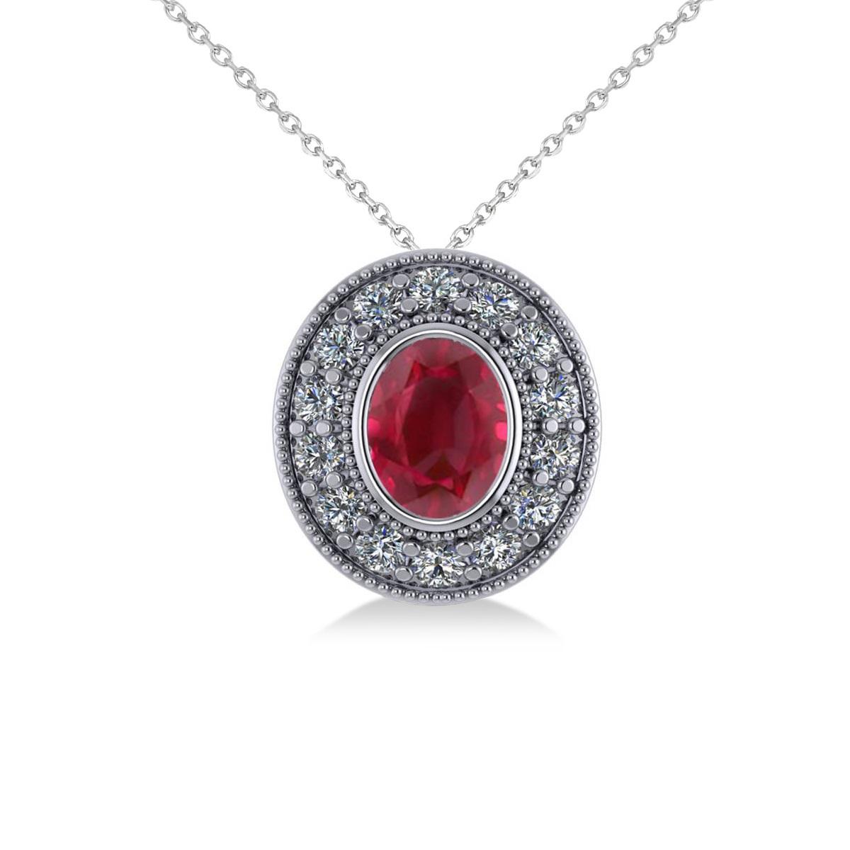 Ruby & Diamond Halo Oval Pendant Necklace 14k White Gold (1.48ct)
