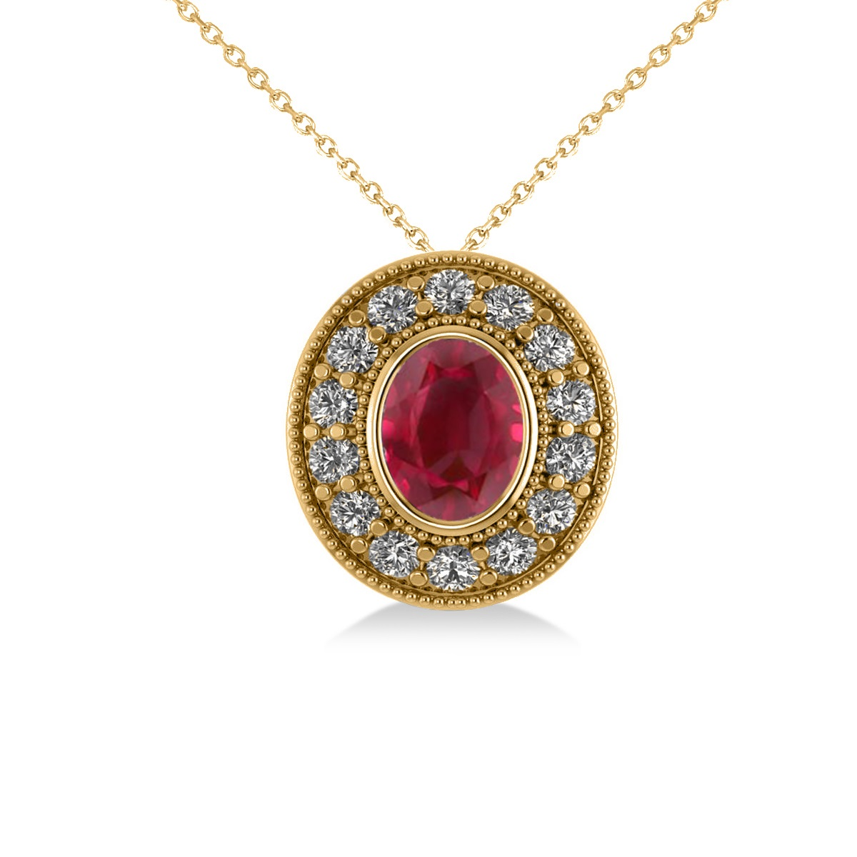 Ruby & Diamond Halo Oval Pendant Necklace 14k Yellow Gold (1.48ct)