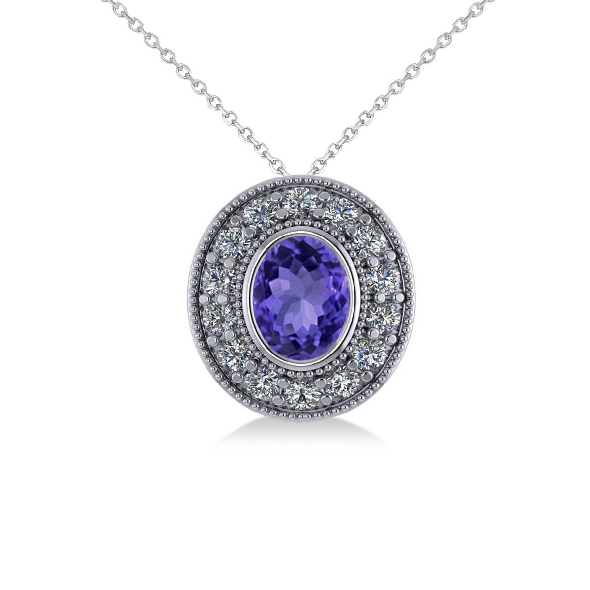 Tanzanite & Diamond Halo Oval Pendant Necklace 14k White Gold (1.31ct)