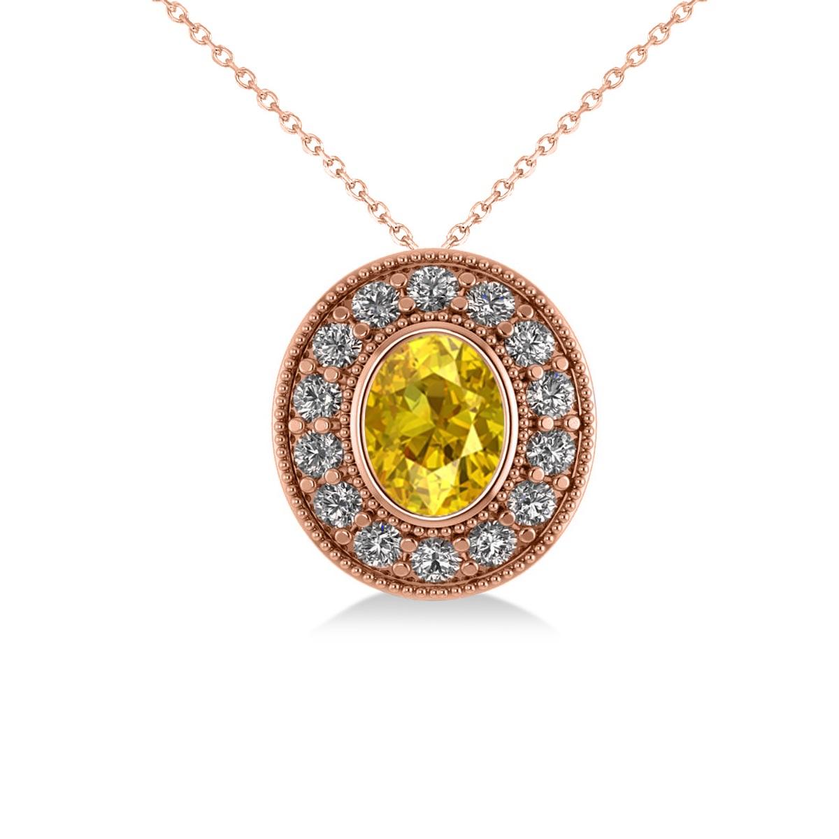 Yellow Sapphire & Diamond Halo Oval Pendant Necklace 14k Rose Gold (1.42ct)