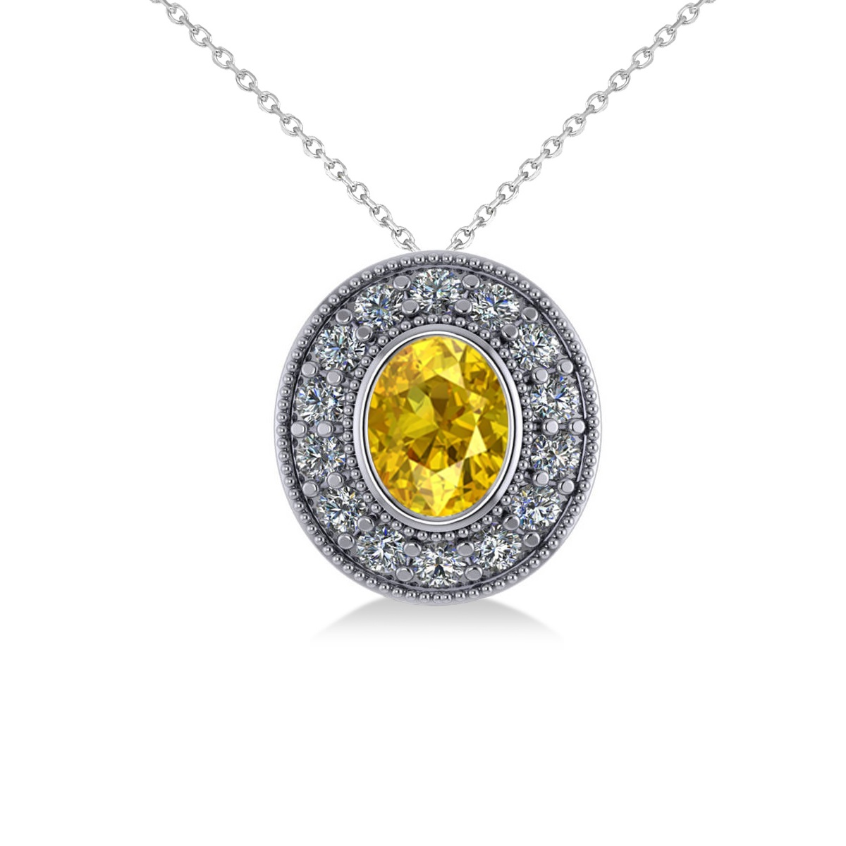 Yellow Sapphire & Diamond Halo Oval Pendant Necklace 14k White Gold (1.42ct)