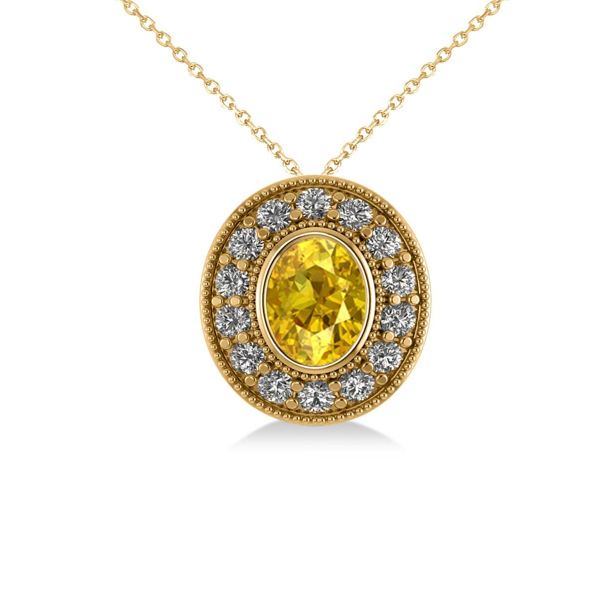 Yellow Sapphire & Diamond Halo Oval Pendant Necklace 14k Yellow Gold (1.42ct)