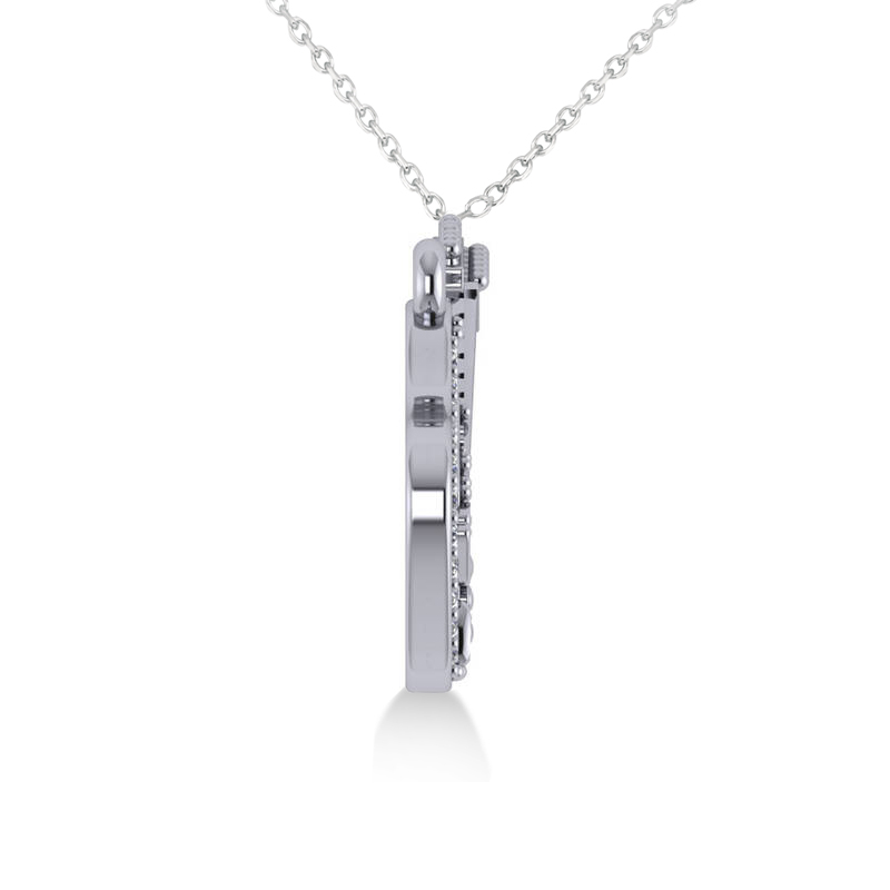 Diamond Guitar Music Pendant Necklace 14k White Gold (0.07ct)