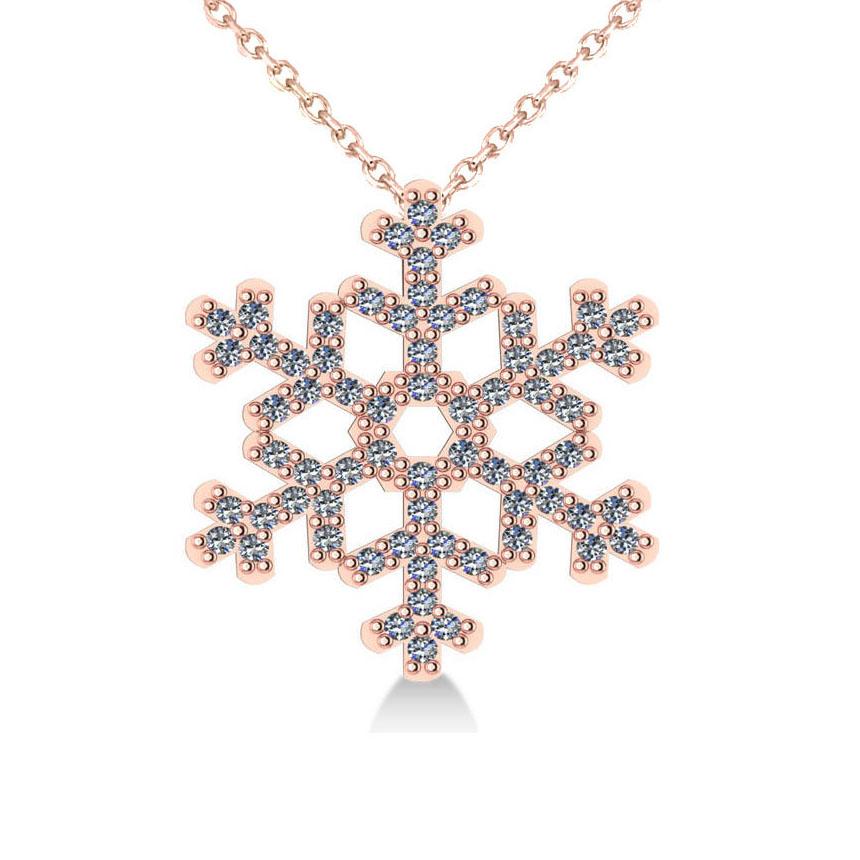 Diamond  Snowflake Pendant Necklace 14k Rose Gold (0.66ct)