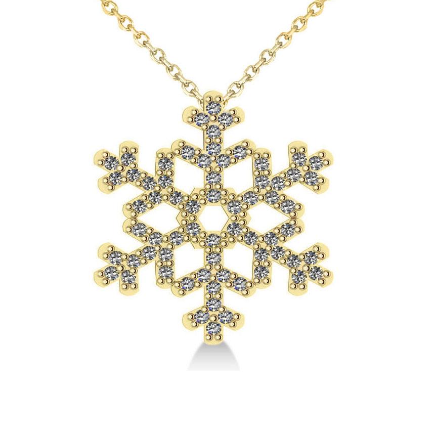 Diamond  Snowflake Pendant Necklace 14k Yellow Gold (0.66ct)
