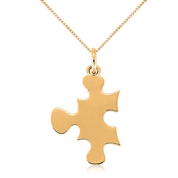 Puzzle Piece Pendant Necklace in Plain Metal 14k Yellow Gold