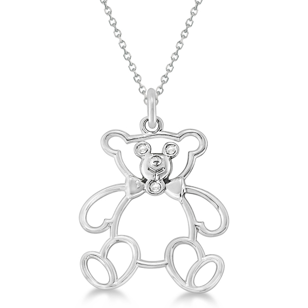 Bezel Set Diamond Teddy Bear Pendant Necklace 14k White Gold 03 Ct