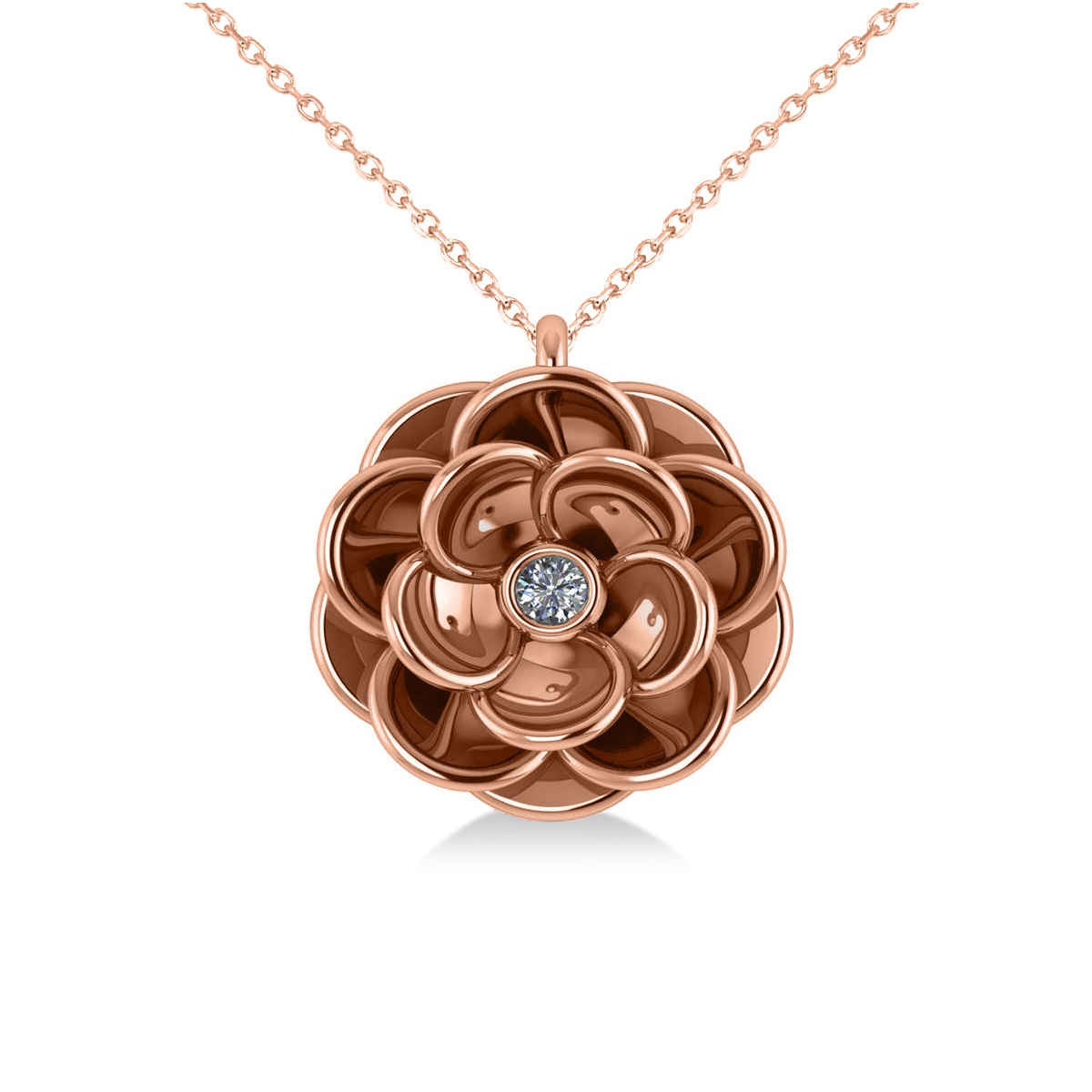 Diamond Round Flower Pendant Necklace 14k Rose Gold (0.05ct)