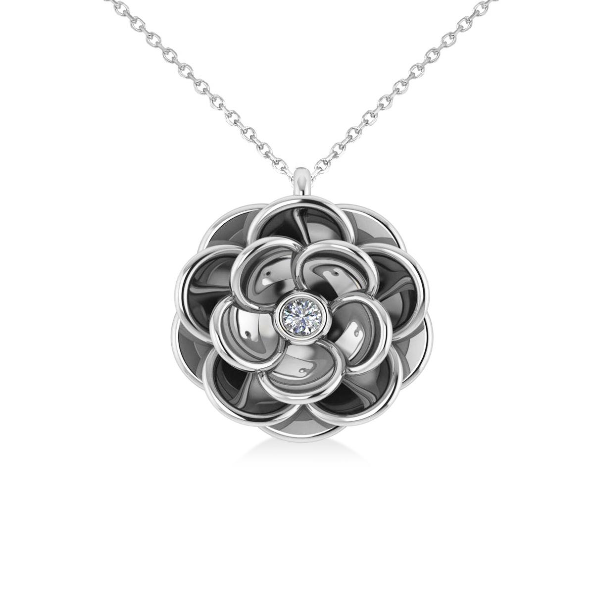 Diamond Round Flower Pendant Necklace 14k White Gold (0.05ct)