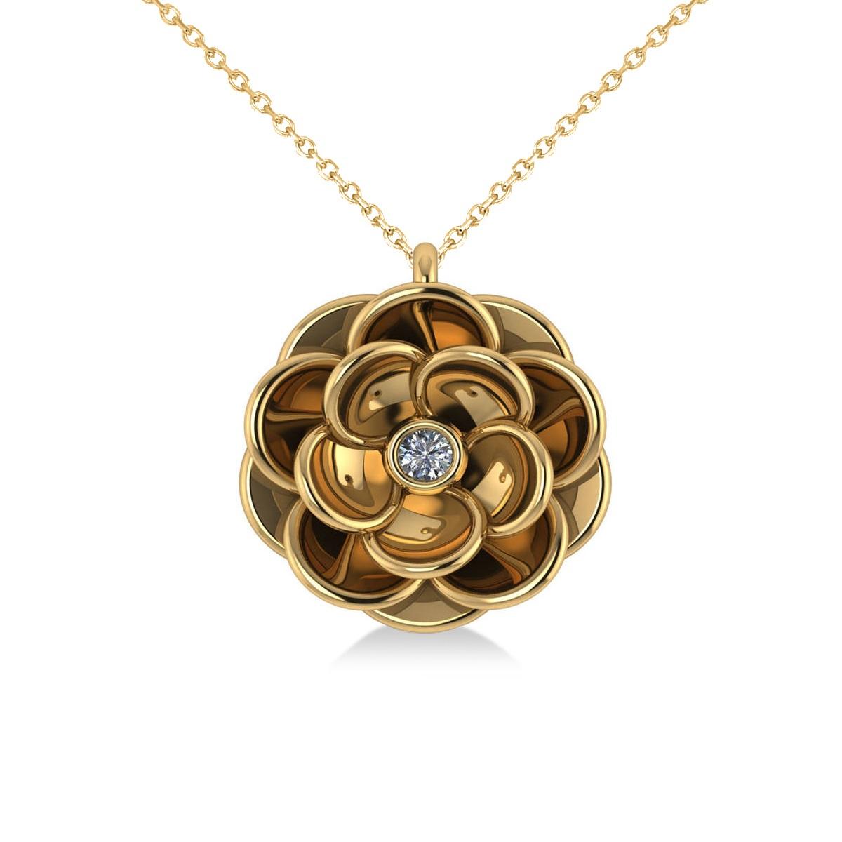 Diamond Round Flower Pendant Necklace 14k Yellow Gold (0.05ct)