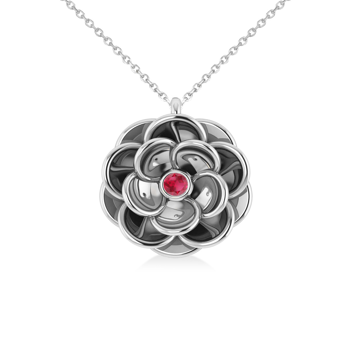 Ruby Round Flower Pendant Necklace 14k White Gold (0.05ct)