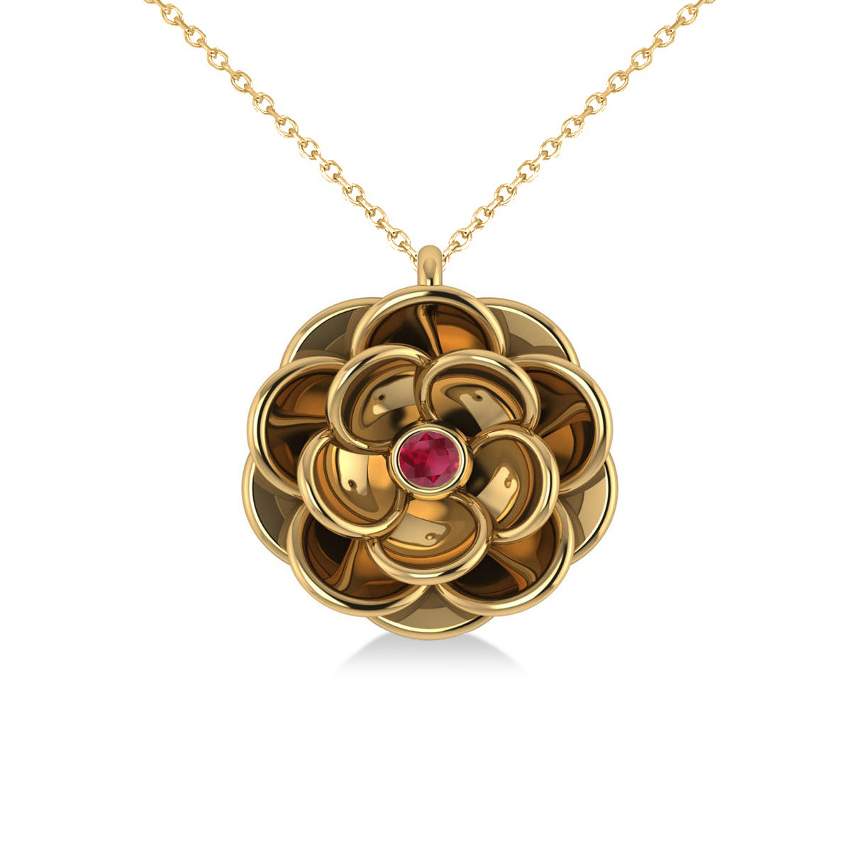 Ruby Round Flower Pendant Necklace 14k Yellow Gold (0.05ct)