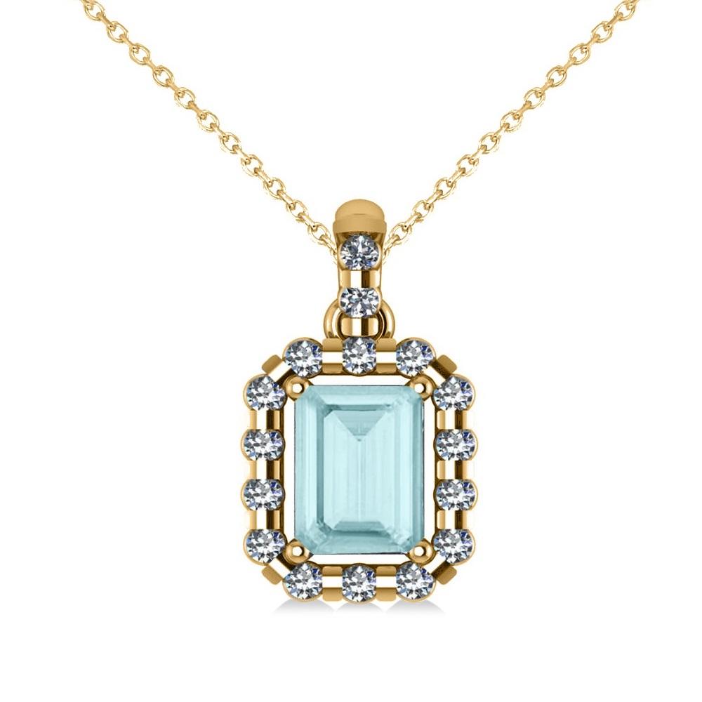 Diamond & Emerald Cut Aquamarine Halo Pendant Necklace 14k Yellow Gold (1.04ct)