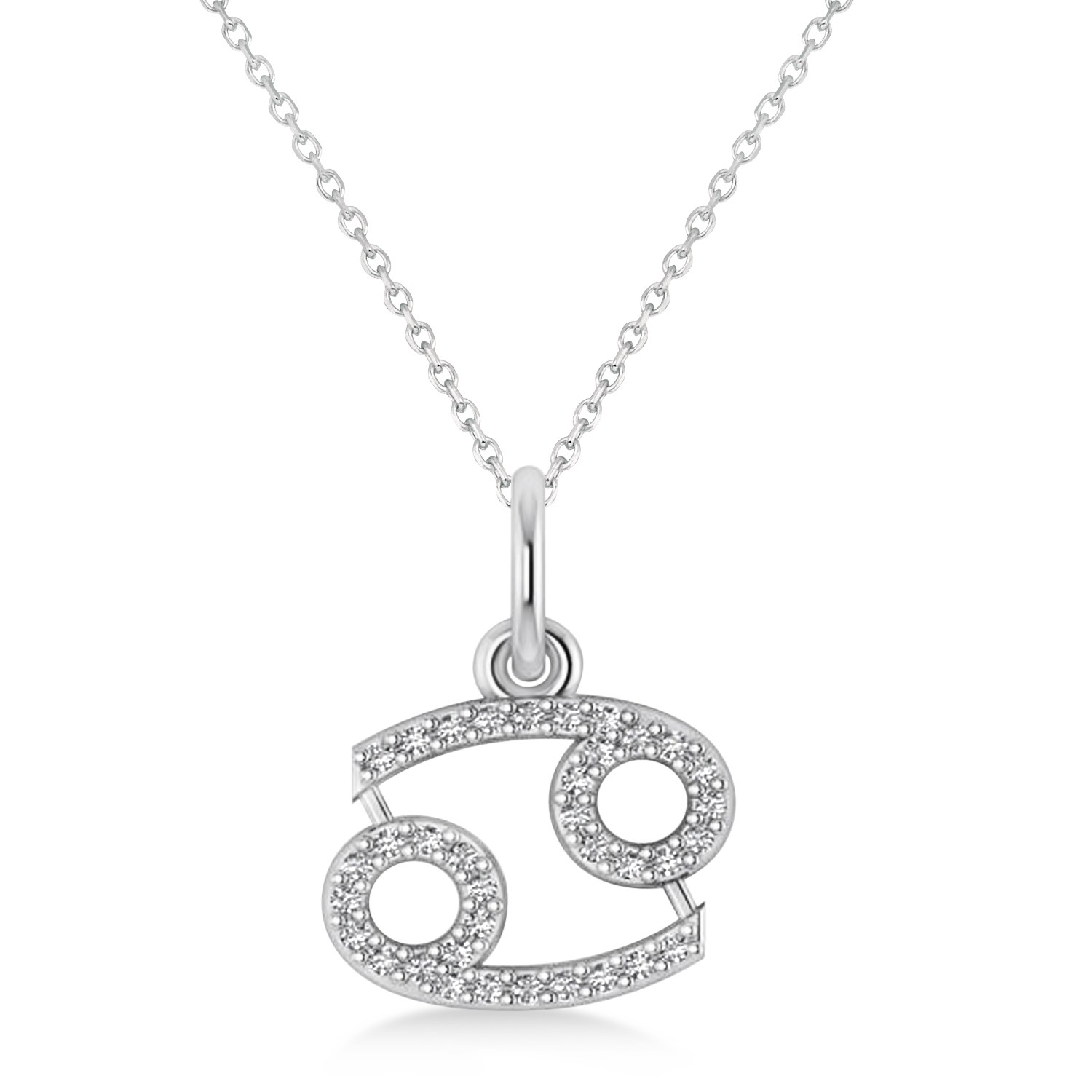 Cancer Zodiac Diamond Pendant Necklace 14k White Gold (0.18ct)