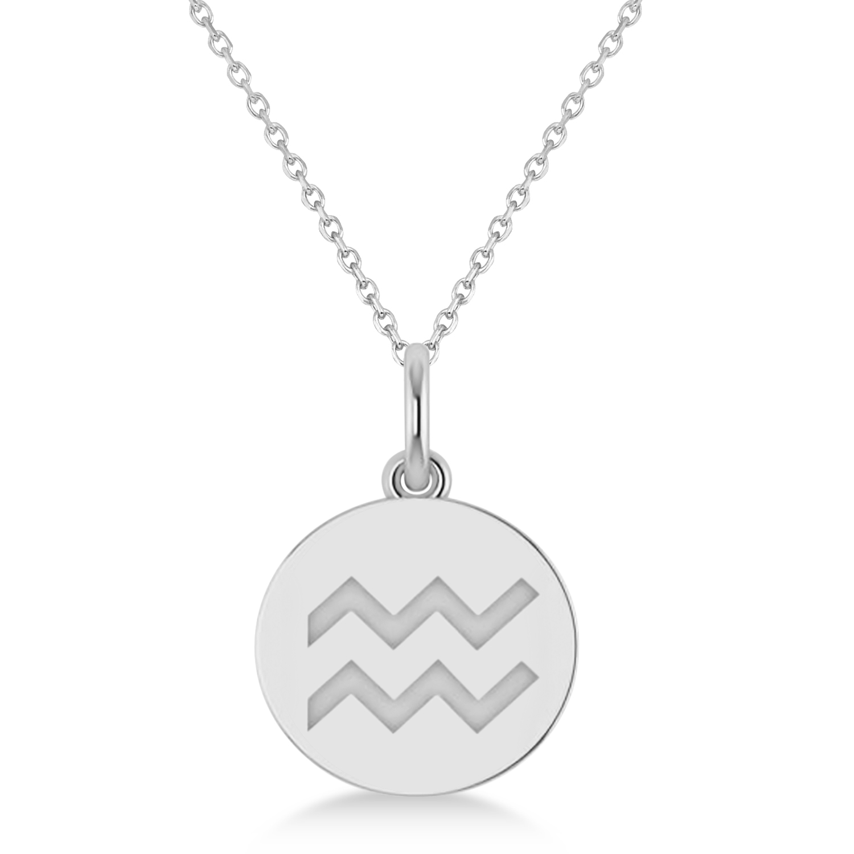 Aquarius Disk Zodiac Pendant Necklace 14k White Gold