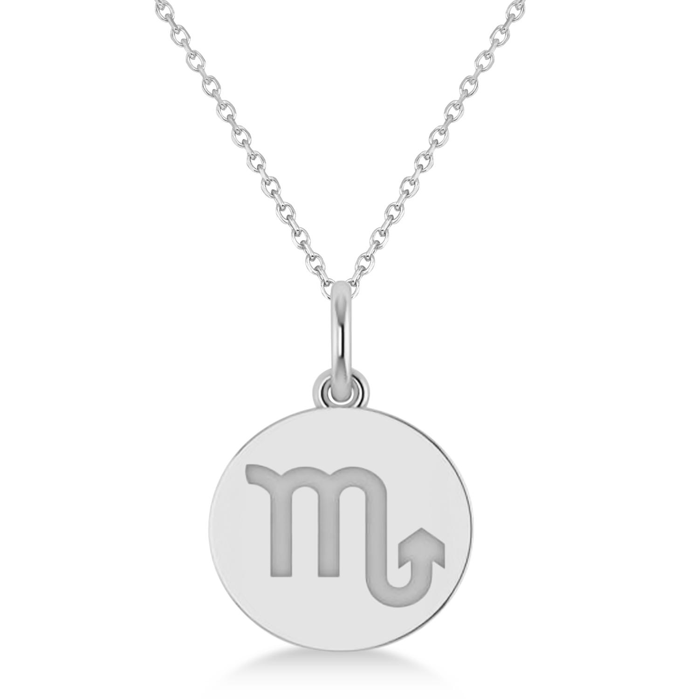 Scorpio Disk Zodiac Pendant Necklace 14k White Gold