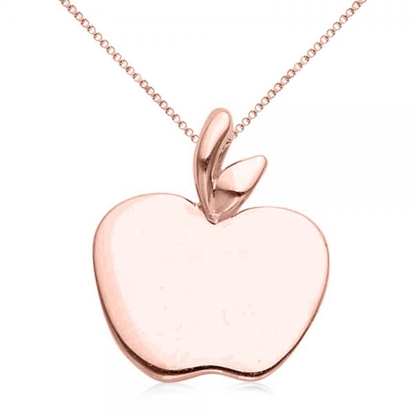 Solid Apple Pendant Necklace in Plain Metal 14k Rose Gold