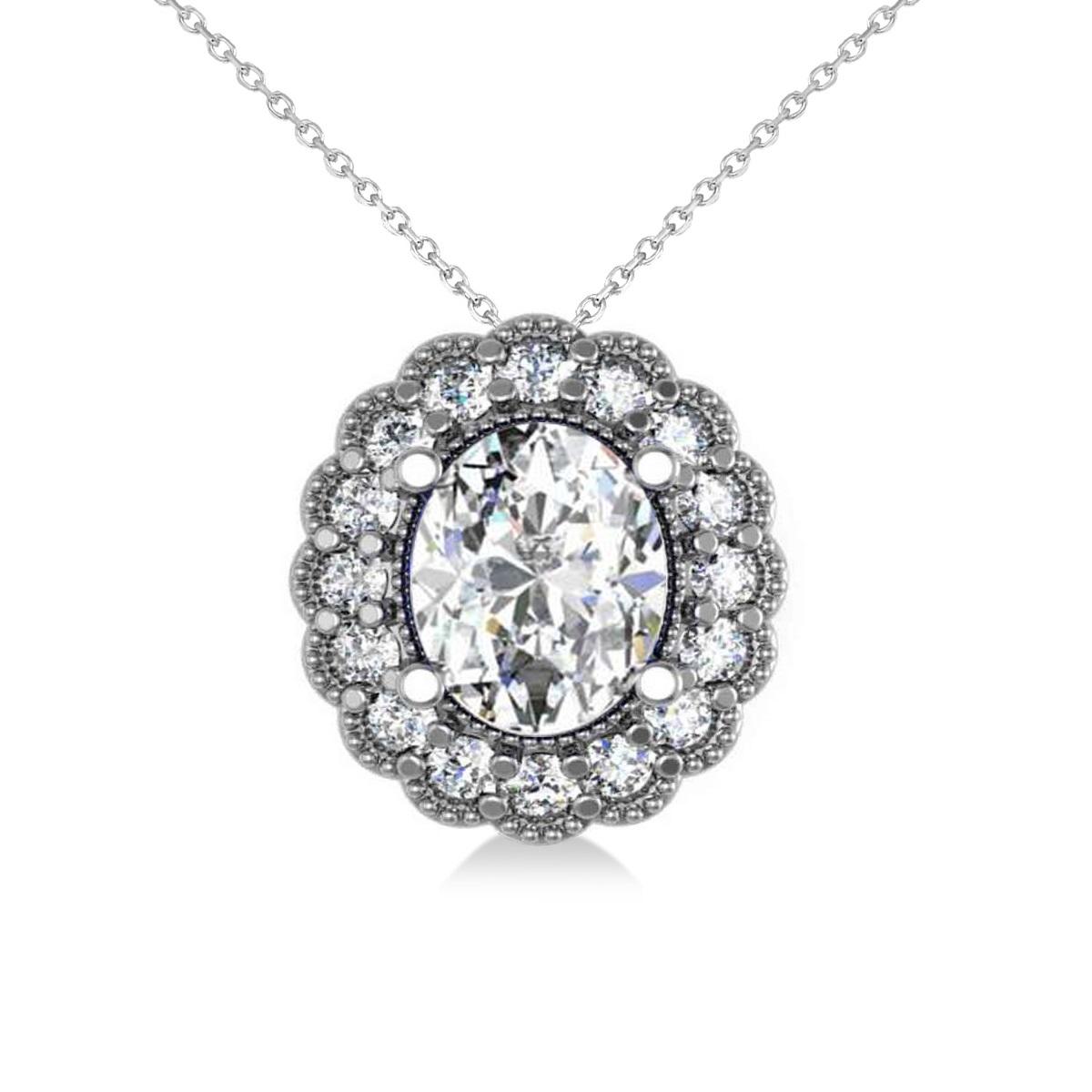 Diamond Floral Oval Halo Pendant Necklace 14k White Gold (2.48ct)