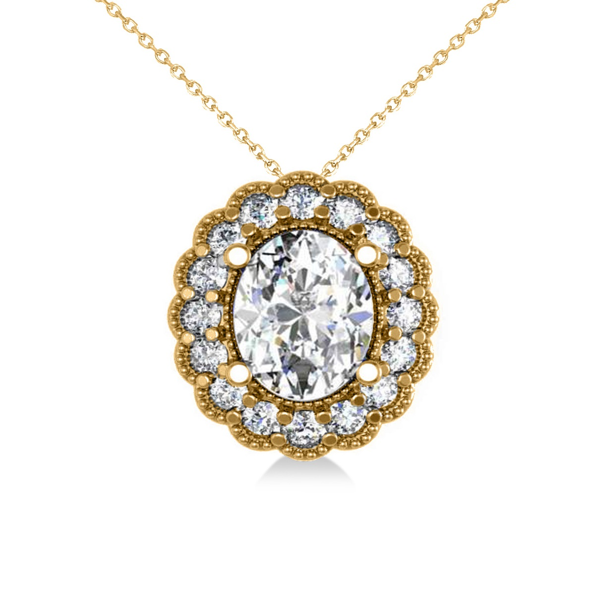 Diamond Floral Oval Halo Pendant Necklace 14k Yellow Gold (2.48ct)
