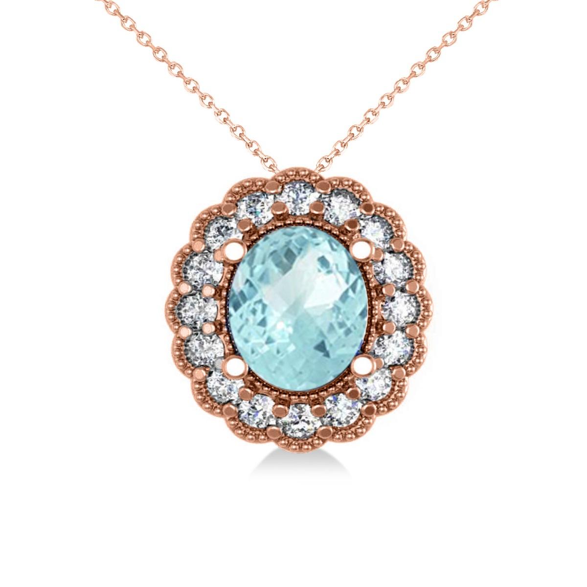 Aquamarine & Diamond Floral Oval Pendant 14k Rose Gold (2.98ct)
