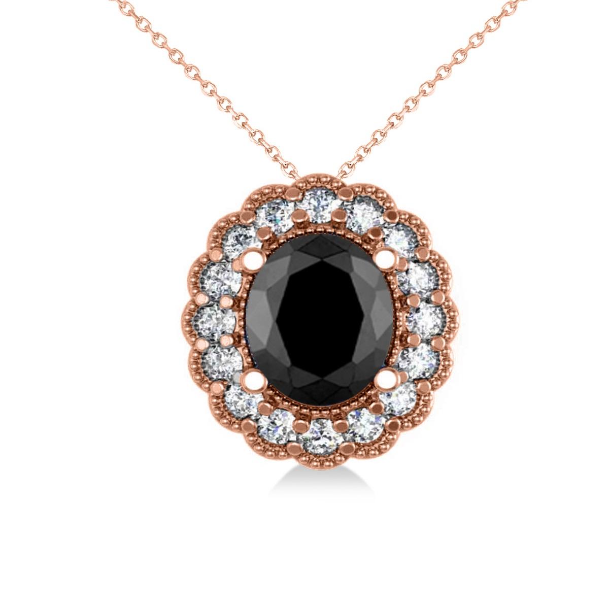 Black Diamond & Diamond Floral Oval Pendant 14k Rose Gold (2.48ct)