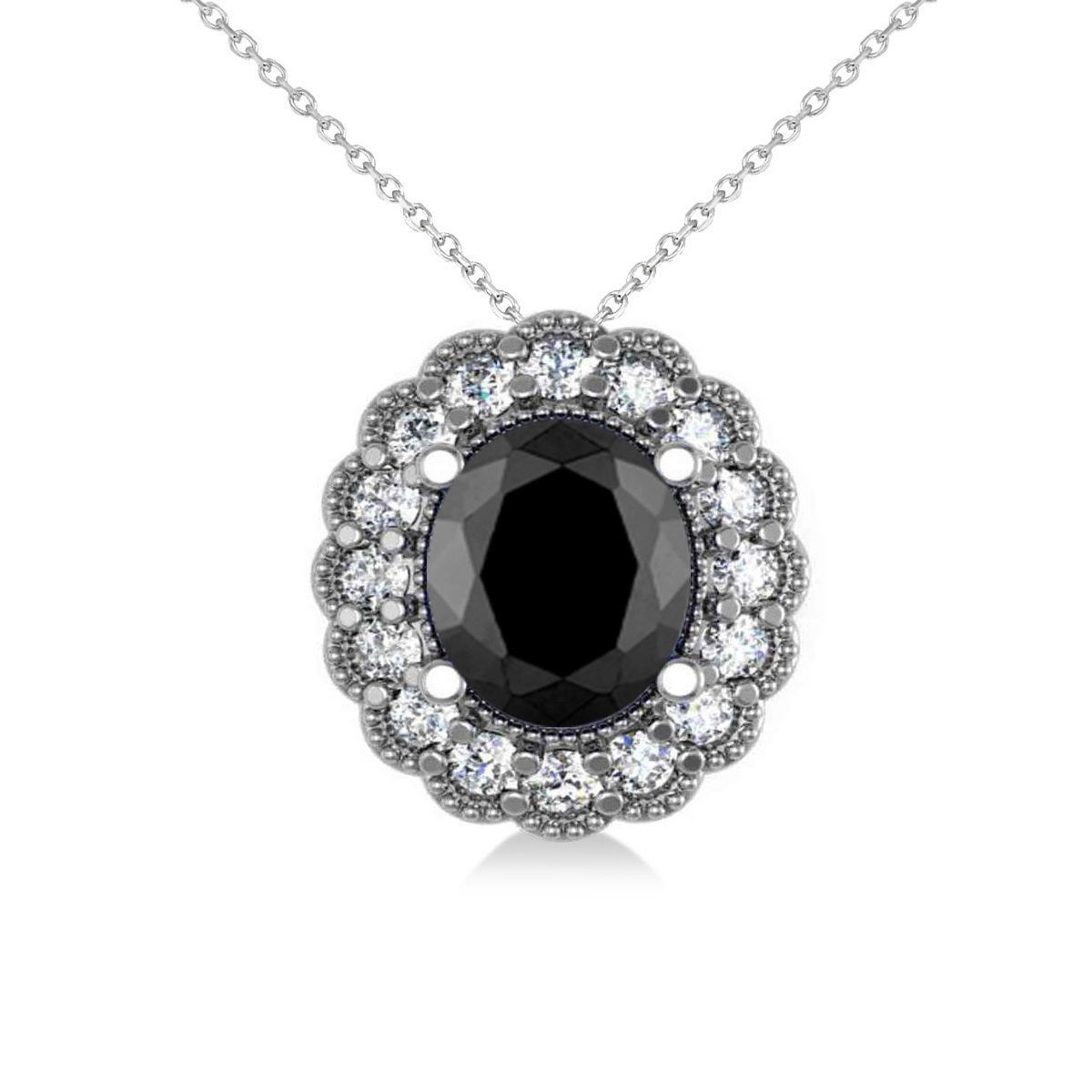 Black Diamond & Diamond Floral Oval Pendant 14k White Gold (2.48ct)