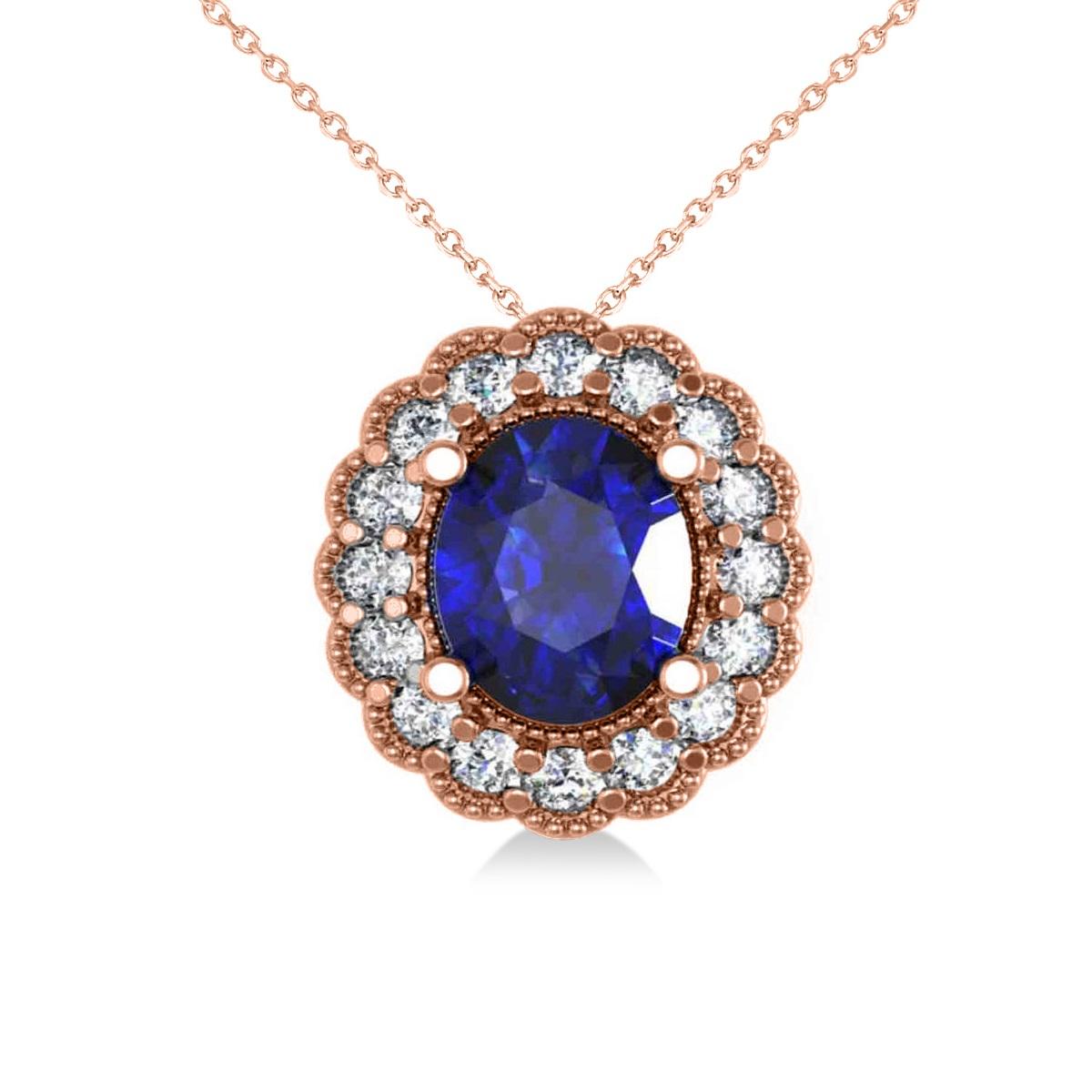 Blue Sapphire & Diamond Floral Oval Pendant 14k Rose Gold (2.98ct)