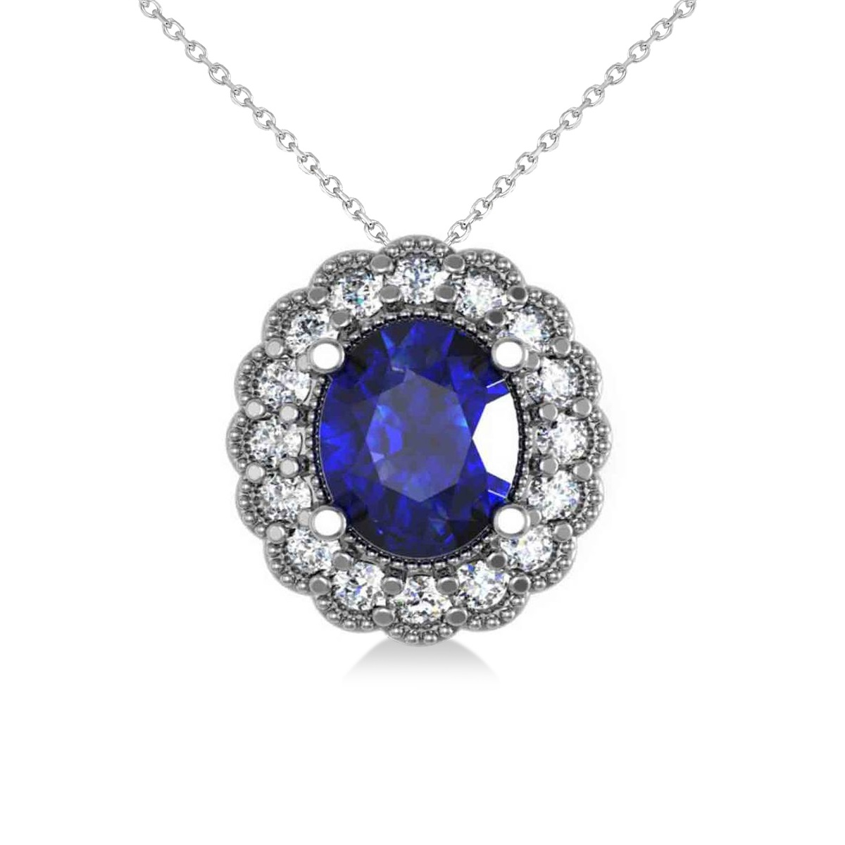 Blue Sapphire & Diamond Floral Oval Pendant 14k White Gold (2.98ct)