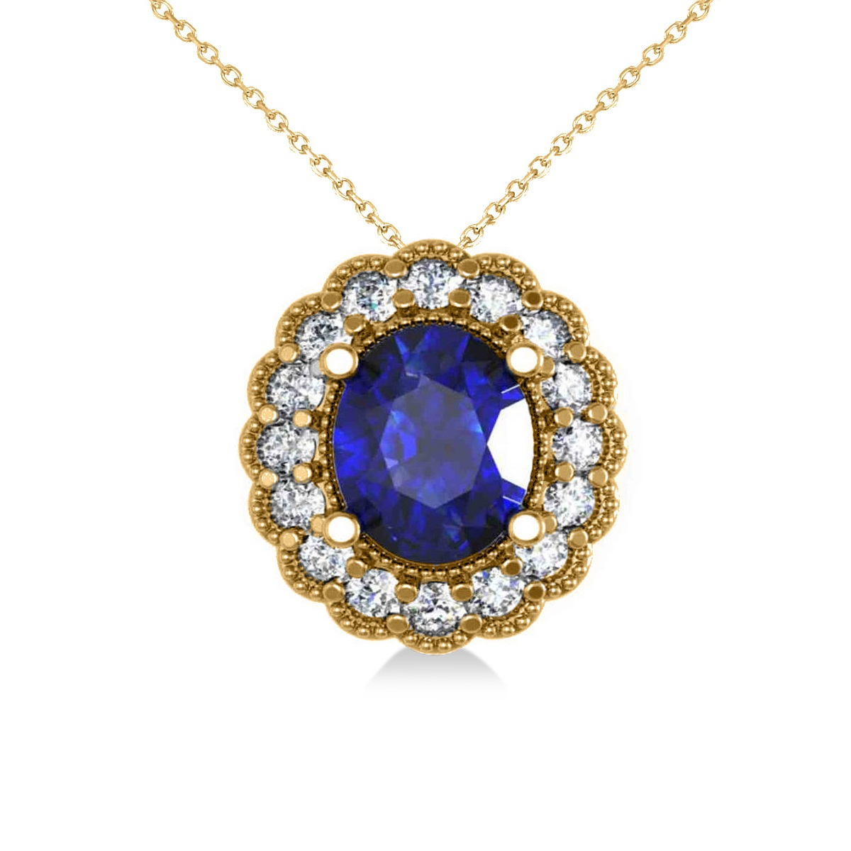 Blue Sapphire & Diamond Floral Oval Pendant 14k Yellow Gold (2.98ct)