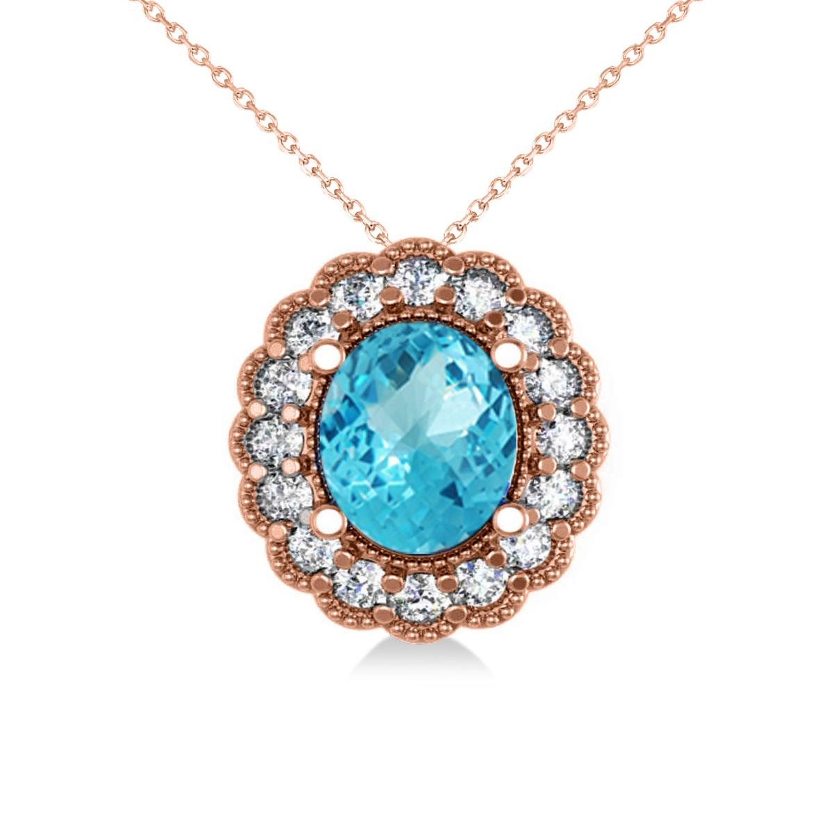 Blue Topaz & Diamond Floral Oval Pendant Necklace 14k Rose Gold (2.98ct)