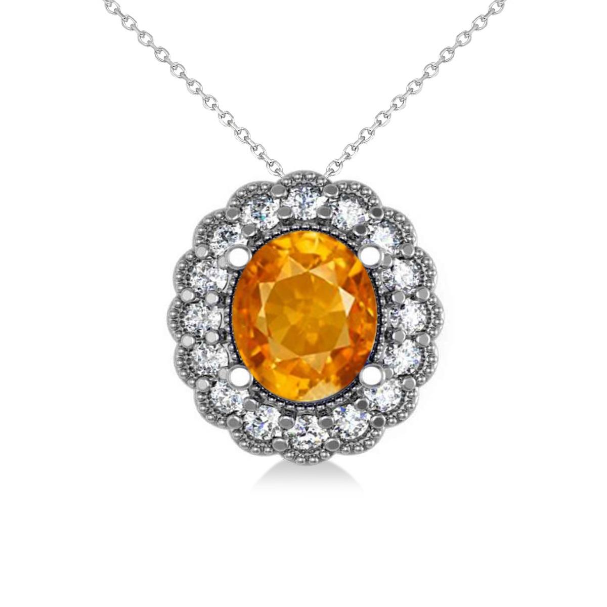 Citrine & Diamond Floral Oval Pendant 14k White Gold (2.98ct)