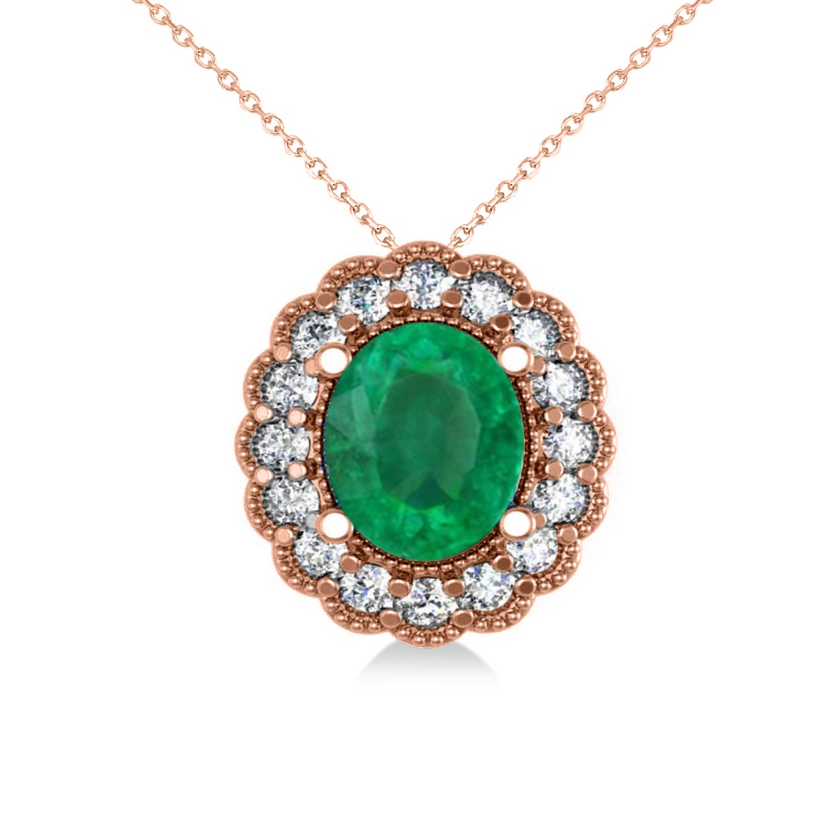 Emerald & Diamond Floral Oval Pendant Necklace 14k Rose Gold (2.98ct)