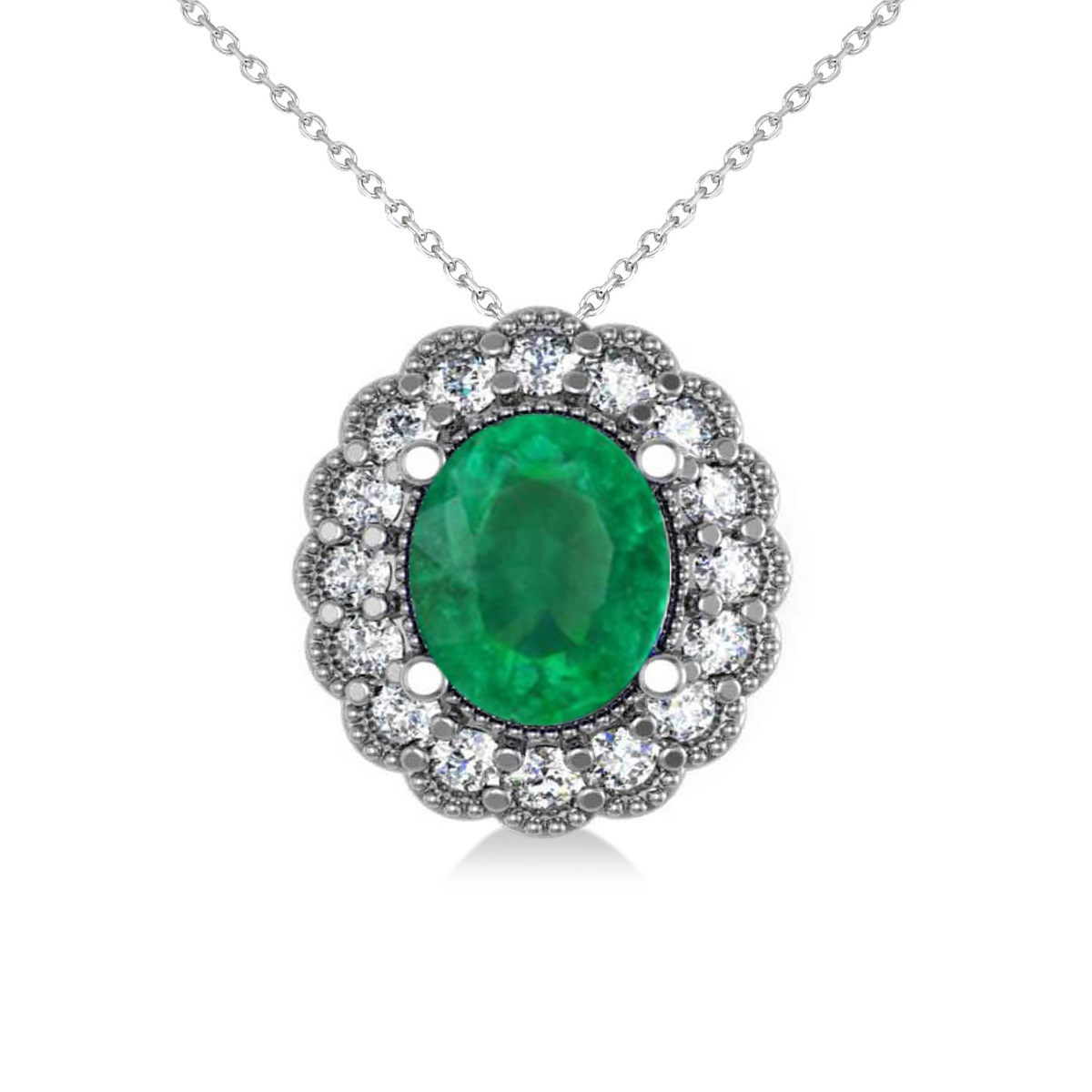 Emerald & Diamond Floral Oval Pendant 14k White Gold (2