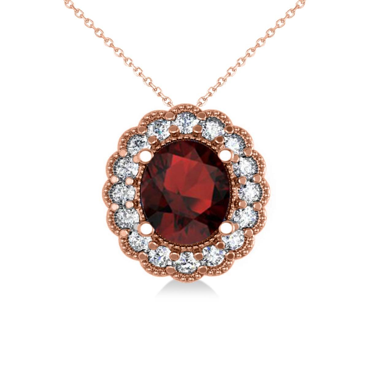Garnet & Diamond Floral Oval Pendant Necklace 14k Rose Gold (2.98ct)