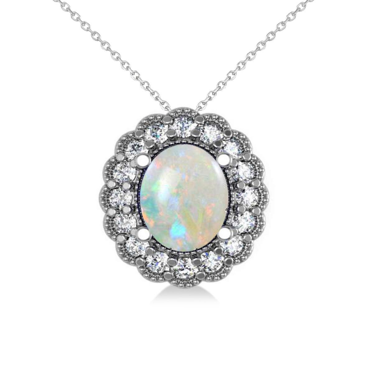 Opal & Diamond Floral Oval Pendant 14k White Gold (2.98ct)