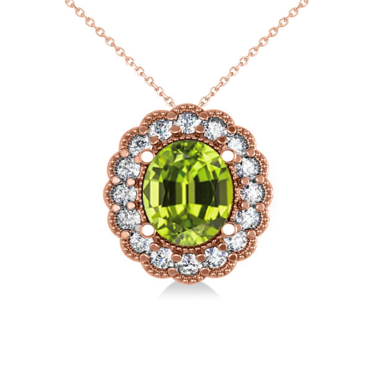 Peridot & Diamond Floral Oval Pendant Necklace 14k Rose Gold (2.98ct)