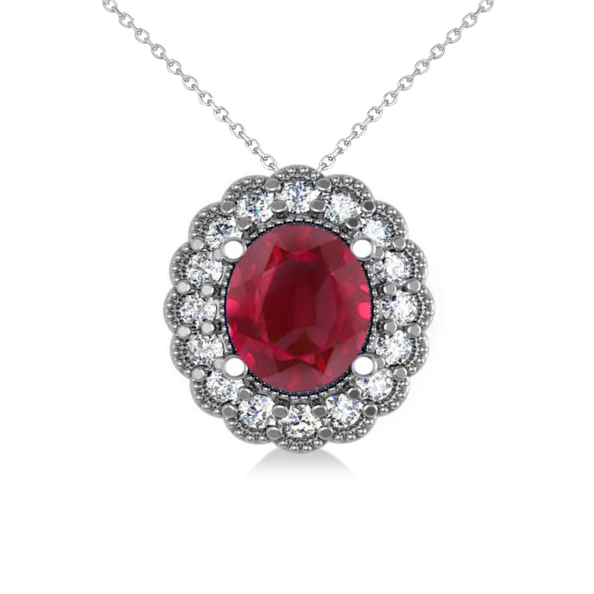 ruby floral oval pendant 14k white gold 2 98ct