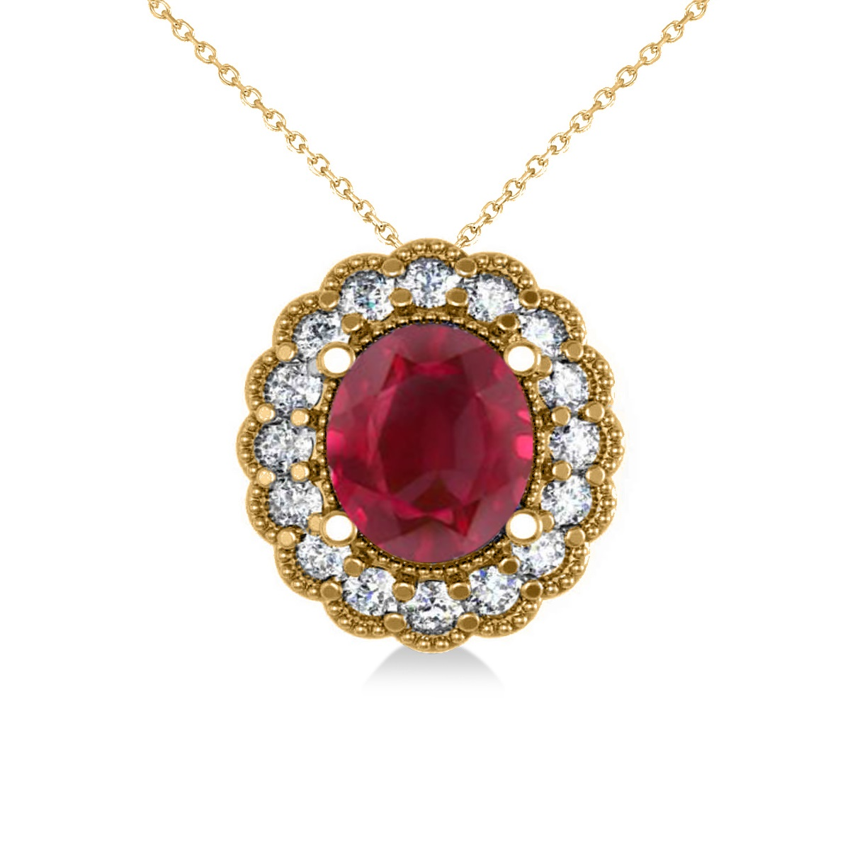 Ruby & Diamond Floral Oval Pendant 14k Yellow Gold (2.98ct)