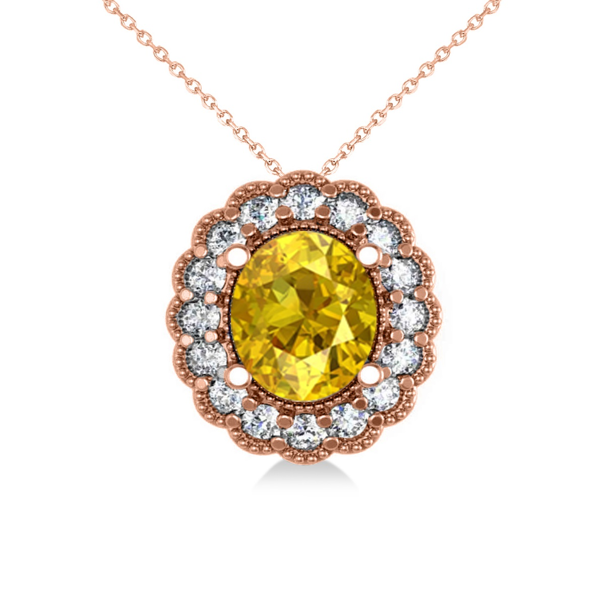 Yellow Sapphire & Diamond Floral Oval Pendant Necklace 14k Rose Gold (2.98ct)