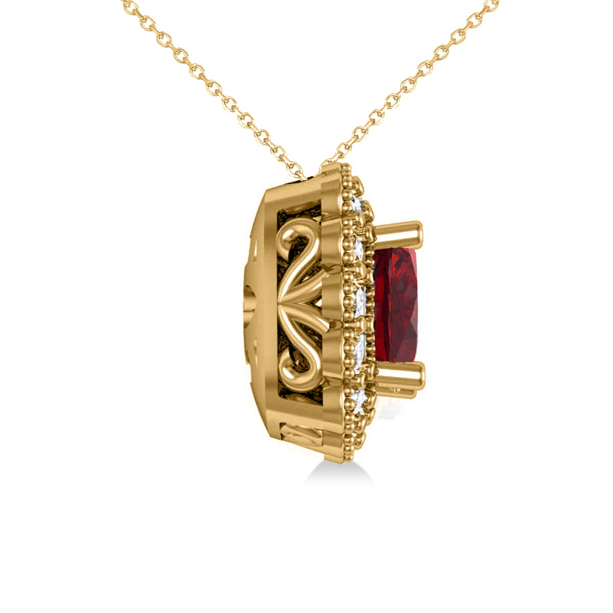 Ruby & Diamond Floral Cushion Pendant Necklace 14k Yellow Gold (3.16ct)