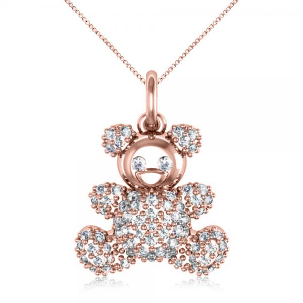 Diamond Accented Teddy Bear Pendant Necklace in 14k Rose Gold (0.28ct)