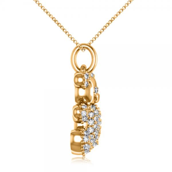 Diamond Accented Teddy Bear Pendant Necklace in 14k Yellow Gold (0.28ct)