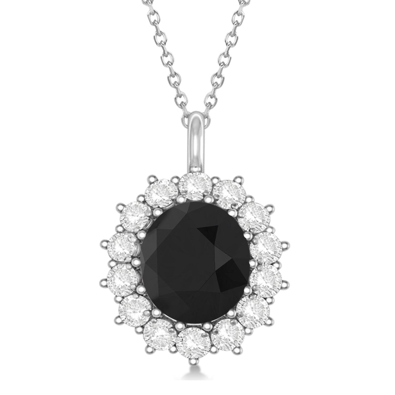 Oval Black Diamond and Diamond Pendant Necklace 14k White Gold (5.40ctw)