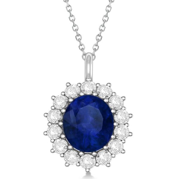 Oval Blue Sapphire & Diamond Pendant Necklace 14k White ...