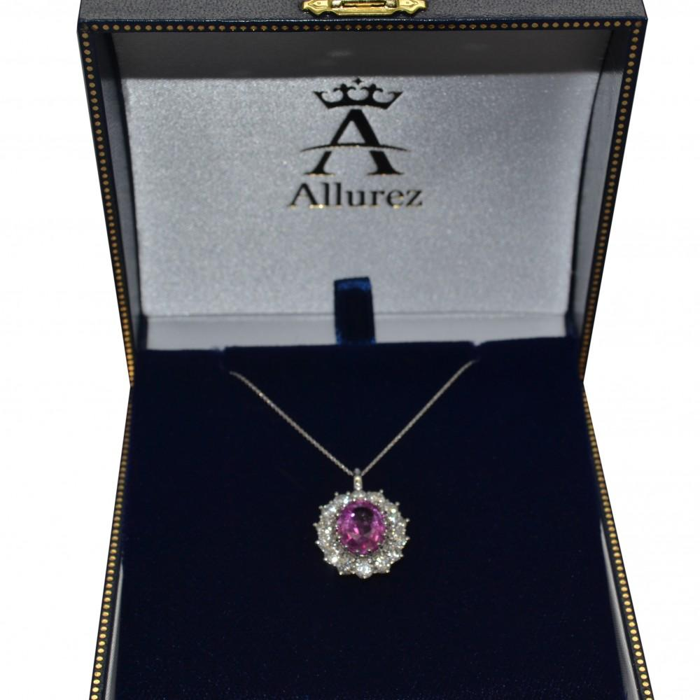 Oval Pink Sapphire & Diamond Pendant Necklace 14k White Gold (5.40ctw)