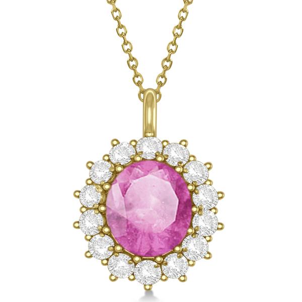 Oval Pink Sapphire & Diamond Pendant Necklace 14k Yellow Gold 5.40ctw