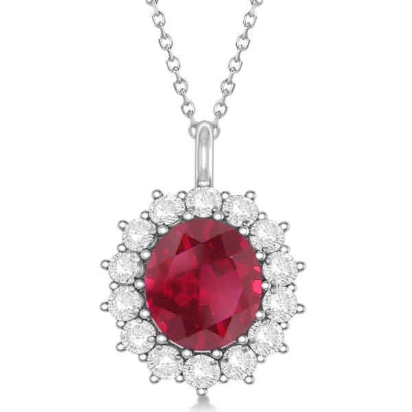 Oval Ruby and Diamond Pendant Necklace 14k White Gold (5.40ctw)