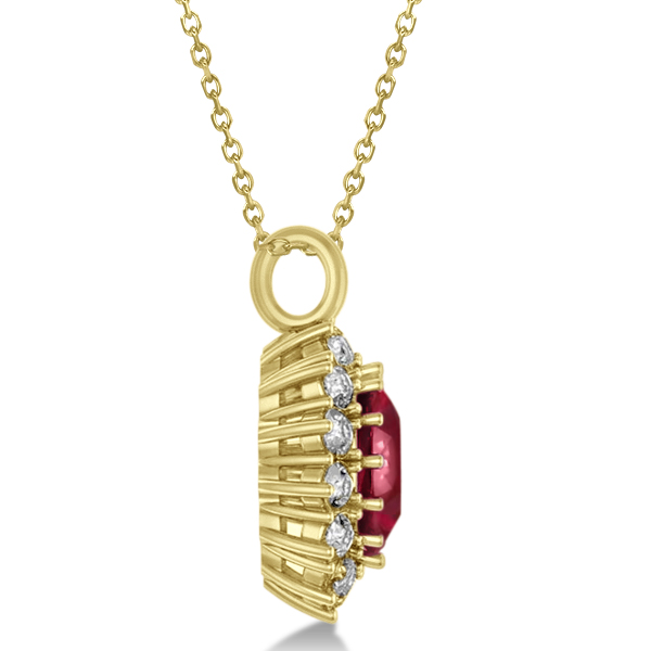 oval ruby and pendant necklace 14k yellow gold 5 40ct